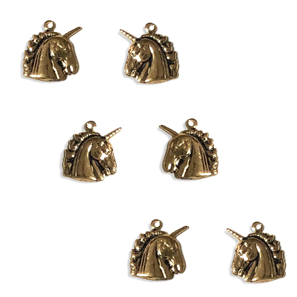 Unicorn Charm 10 x 12mm, Gold (3 Pair)