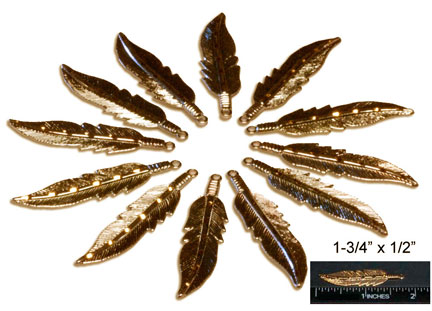 "Feather Charms, Brite Cut, Gold 1-3/4"" x 1/2"" Silver (12)"