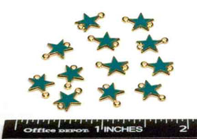 Star Charms (2 hole), Gold/Turquoise (12 per Package)