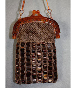 Copper Bugle and Seed Bead Bag