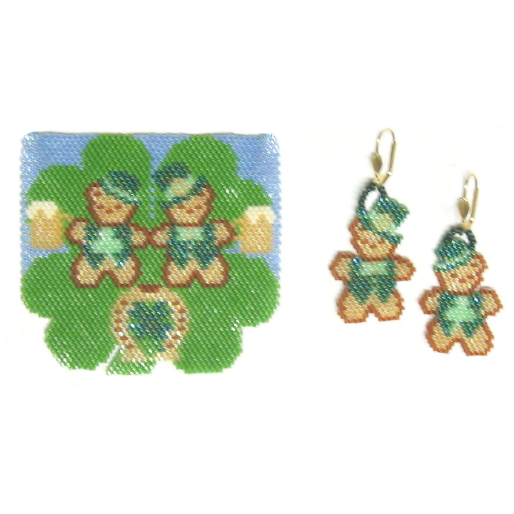 A Beary Happy St. Patrick's Day Pendant and Earrings