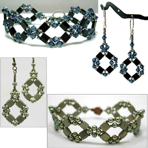 Diamond Tila Bracelet and Earrings