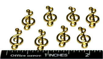 Charms, Treble Clef, Brass (8 per Package)
