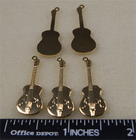 Guitar Charms, Brass Gold (10 per Package)