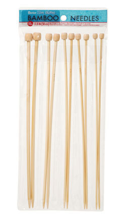 "Bamboo Knitting Needles 11.8"", 5 Size Set; 3.5, 4, 4.5, 5,"