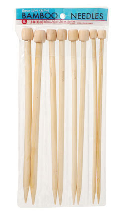 "Bamboo Knitting Needles 11.8"", 4 Size Set; 7, 9, 10, 12"