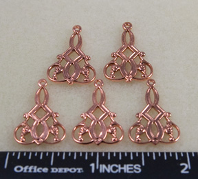 Charm-Earring Filigree, Copper (8 per package)