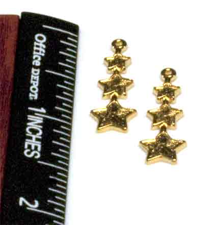 Charms, 3-Stars, Gold (4 per Package)