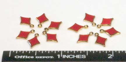 Charms, Diamond, Gold/Red (12 per Package)