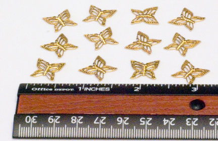 Charms, Filigree Butterfly 2, Brass/Gold (12 per Package)