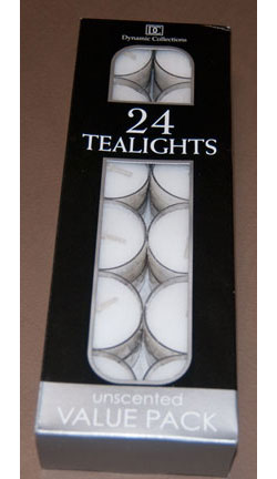 Tea Lights, Clear Container, Unscented (24 per package)
