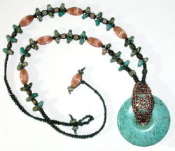 Trq and copper macrame necklace