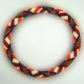 Goldstone Plaid Bead Crochet Bracelet #405