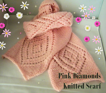 Pink Diamonds Knitted Scarf
