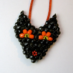 Triangle Weave Black Halloween Cat Pendant or Brooch