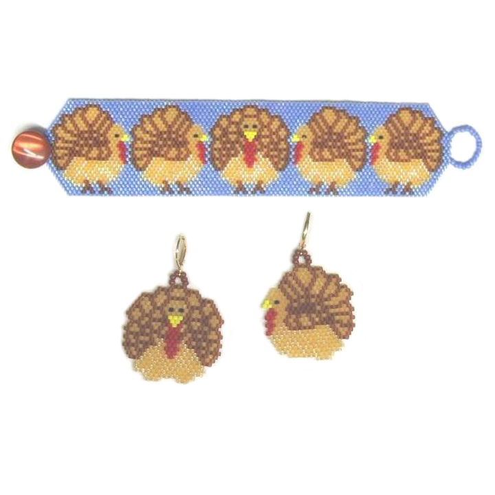 Turkeys on Parade Bracelet and Earrings
