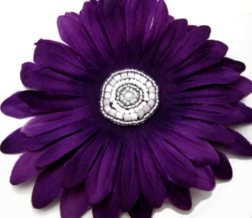 Beaded Flower Hair Clip