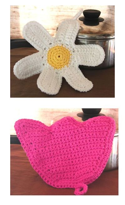 Daisy and Tulip Potholders