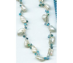 Beaded Chain or Strap with Fresh Water Pearls