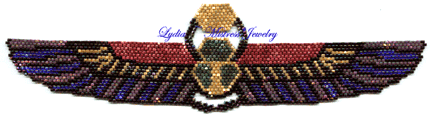 Shimmering Winged Scarab Bracelet in Peyote (Full Color Chart)