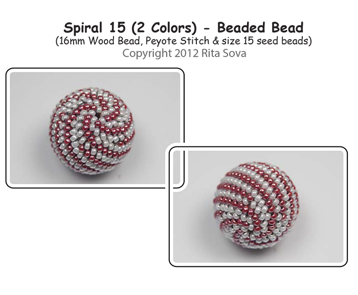 Spiral 15 (2 colors) Beaded Bead