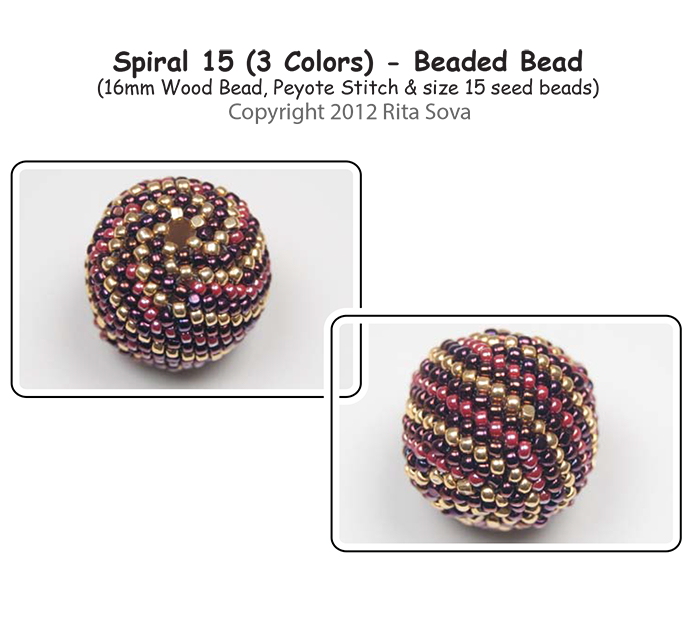 Spiral 15 (3 colors) Beaded Bead