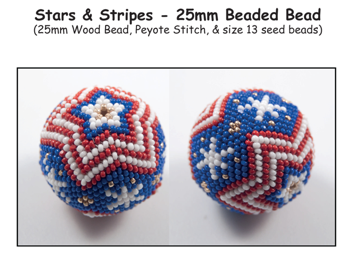 Stars & Stripes - 25mm Beaded Bead