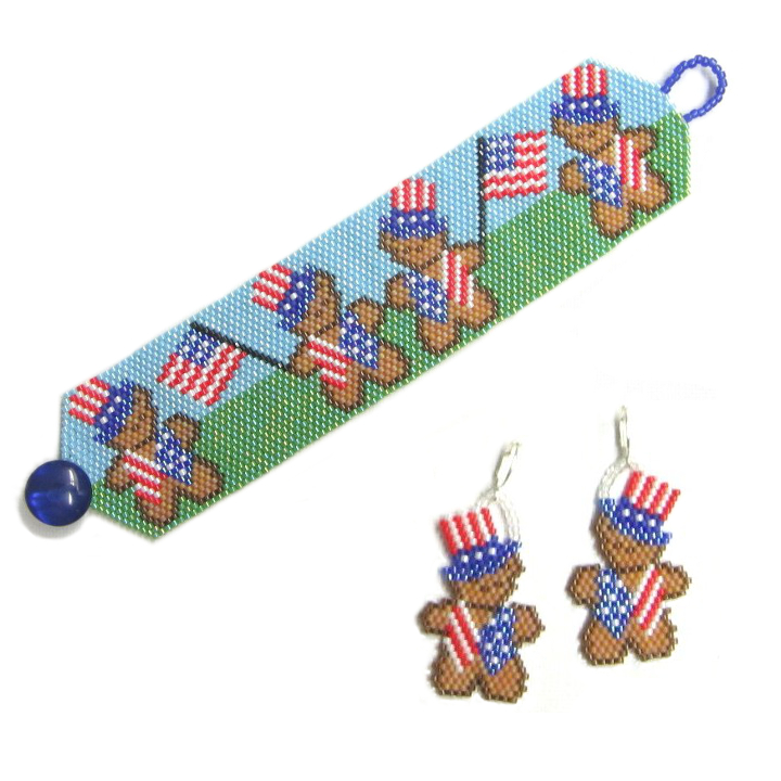 A Beary Happy 4th of July Bracelet & Earrings