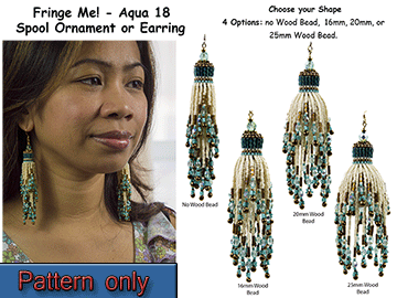 Fringe Me! - Aqua 18, Spool Ornament or Earring Tutorial