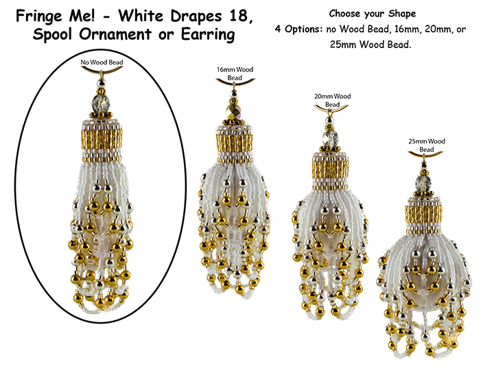 Fringe Me! - White Drapes 18, Spool Ornament or Earring Tutorial