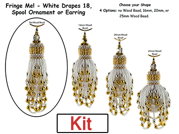 Fringe Me! - White Drapes 18, Spool Ornament or Earring Kit