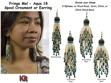 Fringe Me! - Aqua 18, Spool Ornament or Earring Kit
