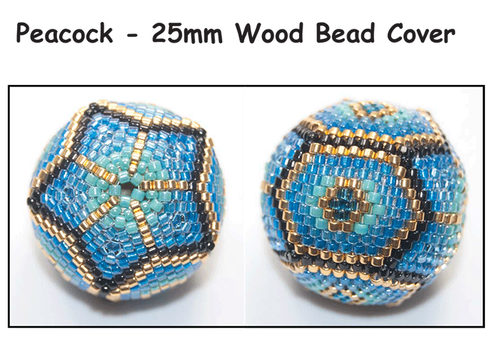 Peacock - 25mm Wood Bead Cover