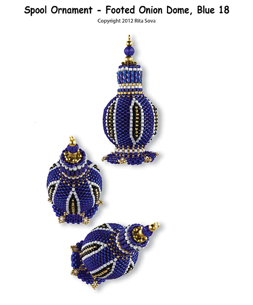 Spool Ornament - Footed Onion Dome, Blue 18
