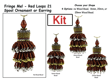 Fringe Me! - Red Loops 21, Spool Ornament or Earring Kit