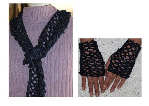 Midnight Sky Scarf and Fingerless Mittens