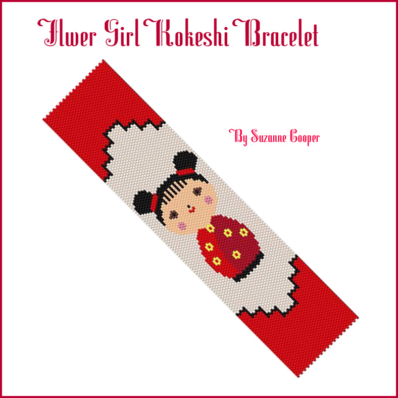 Flower Girl Kokeshi Doll Bracelet