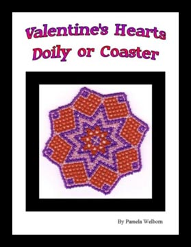 Bead Netted Valentine Hearts Doily or Coaster
