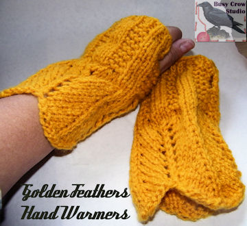 Golden Feathers Knitted Hand Warmers