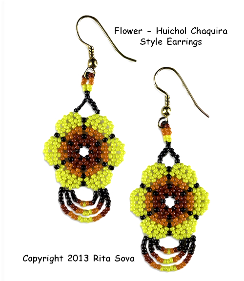 Flower - Huichol Chaquira Style Earrings