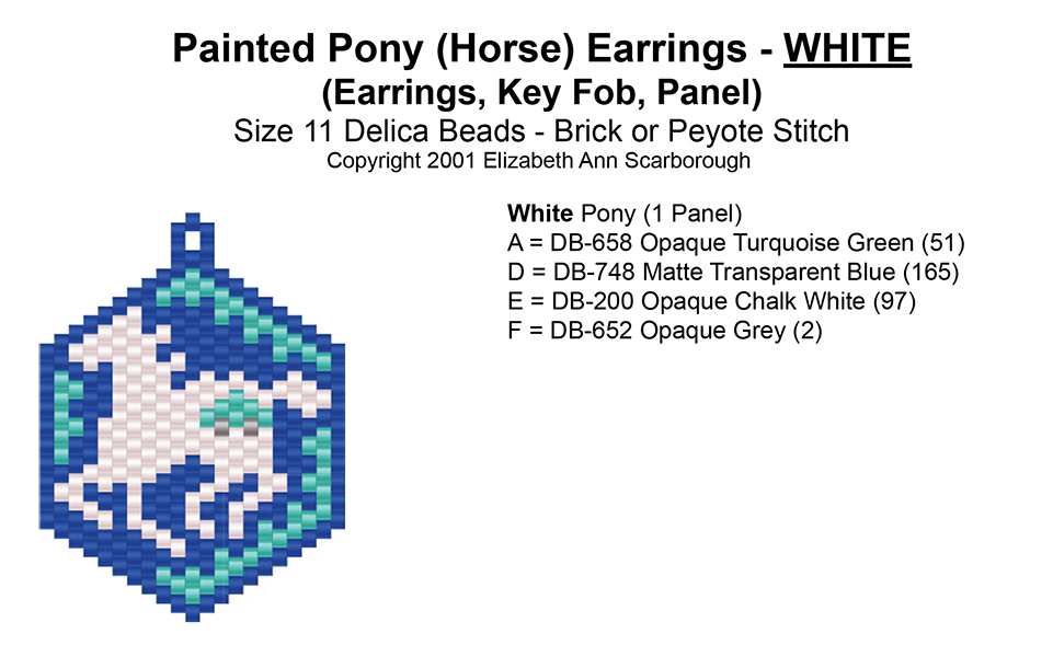 Painted Pony (Horse) Earrings - White