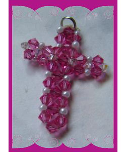 Pink and Pearl Crystal Cross Pendant