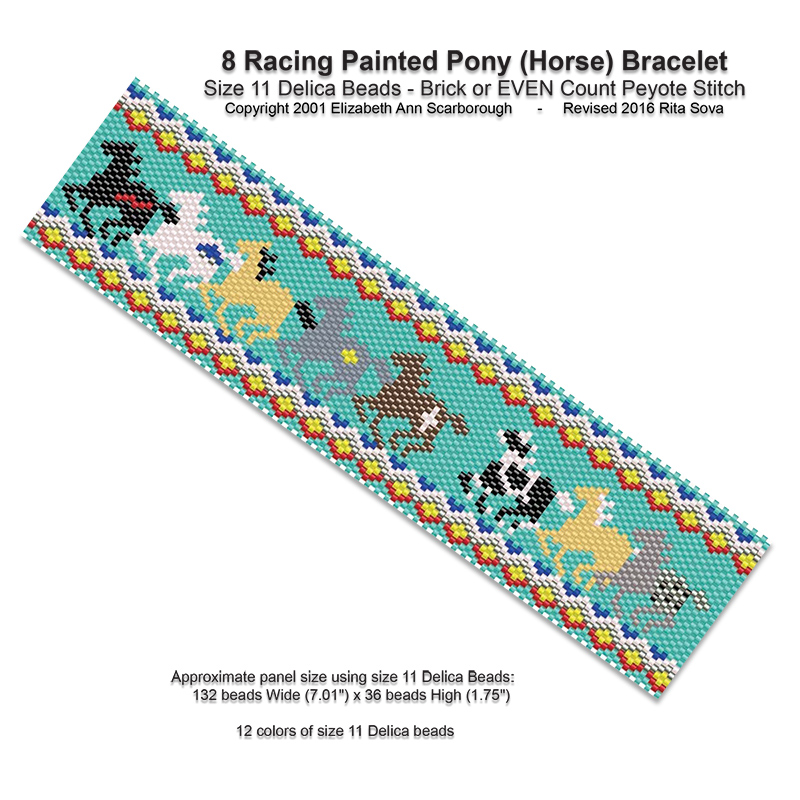 8 Racing Painted Ponies (Horse) Bracelet