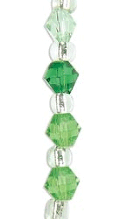 "Blue Moon Color Coordinates Glass Beads 14"" Strand, Green 1, Mac"