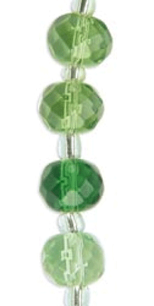 "Blue Moon Color Coordinates Glass Beads 7"" Inch Strand, Green 2,"