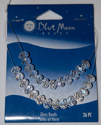 Blue Moon Beads, Glass 8mm Rondel, Clear AB (26)