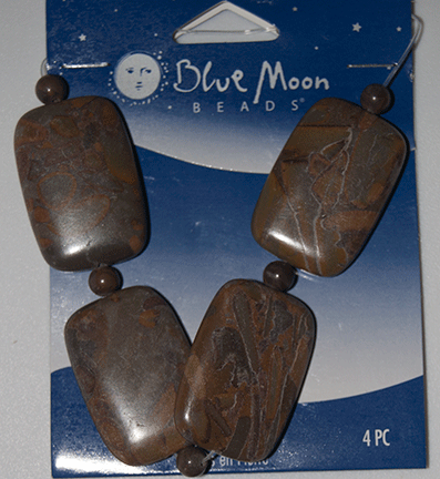 Blue Moon Beads, Stone Rectangle Coffee Brown 20mm x 30mm (4)