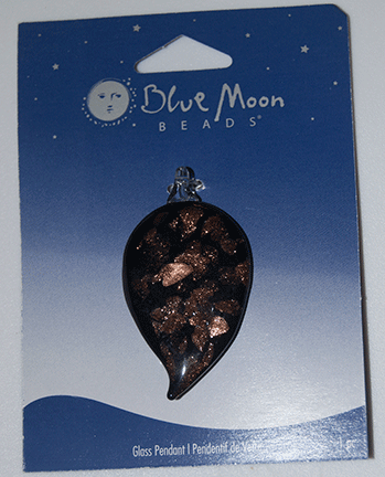 Blue Moon Beads, Pendant, Black/Gold Tear 26mm x 40mm (1)