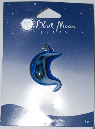 Blue Moon Beads, Pendant, Glass Blue Multi, 25mm x 35mm (1)