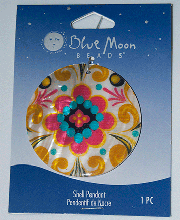 Blue Moon Beads, Pendant, Shell, Round with graphic, 40mm (1)